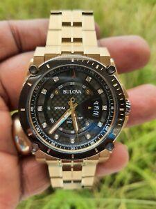 Bulova Precisionist Quartz Diamond Black Dial Stainless Men's Watch (No. 98D156)