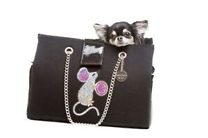 NWT Inamorada Handmade Italian Black Fabric Cinderella Cashmere Dog Carrier Bag