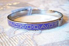 Thin Coach Purple Silver Letter Logo Bangle Bracelet F99983D0G NWT