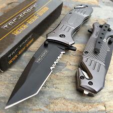 Tac Force Black Tanto Blade Camping Hunting Survival Pocket Knife Grey Handle