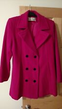 Vtg Lady WAYNE STUART WOMEN deep Pink WOOL DOUBLE-BREAST Winter formal COAT Sz M