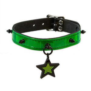 DSF Cyberpunk Collar - Green Star Spike Cybergoth Cyber Punk Goth [GN STR]5061