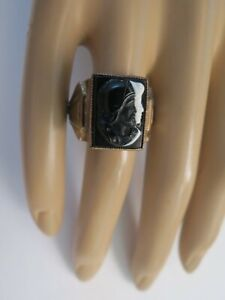Vtg Men's Ring Double Warrior Viking Black White Stone Size 11 Spartan Profile