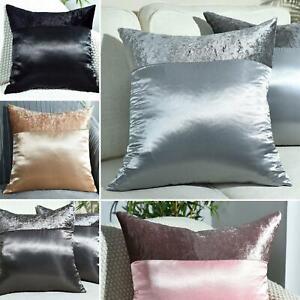 "Crushed Velvet & Faux Silk Cushion Covers 17""X17"", 20""X20"", 22""X22"", 24""X24"""