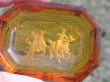 Polo Players Intaglio Open salt cellar Depression Glass Amber Table equstrian