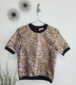 Marni x H&M Gold Floral Short Sleeve Top Shirt Women Size 4