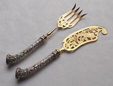 *RAR* Paar Fischvorleger Rehgeweih / Geweih in 800 Silber um ca. 1880