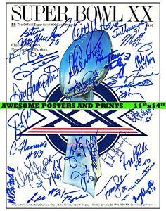NFL Super Bowl XX Program POSTER, Chicago Bears vs. New England Patriots REPRINT