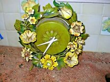RARE Vintage Polychrome Italian Tole Mantle Clock Yellow Flowers, Leaves Italy