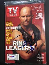 Stone Cold Steve Austin Signed Tv Guide No label March 27 1999 Psa