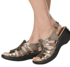 Clarks Bendables Lexi Marigold Womens 9W Bronze Leather Sandals NEW