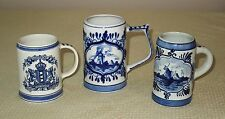 3 DELFT BLUE MUG STEIN WINDMILL AMSTERDAM COAT OF ARMS SHIP FLORAL HOLLAND