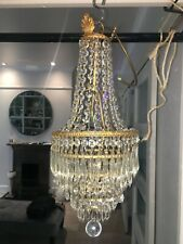 antique empire basket brass and waterfall icicle crystal chandelier