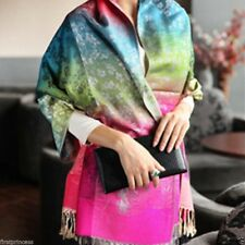 Bufanda algodon raso Chiffon Bohemian Printed Scarf Large Multicolor Shawl Wrap