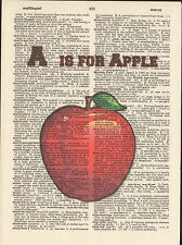 A is for Apple Alphabet Altered Art Print Upcycled Vintage Dictionary Page