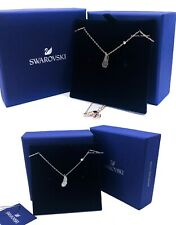 Authentic SWAROVSKI Rhodium Rose Gold Naughty Nice Feather Pendant Necklace