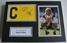 Rudi Voller Signed Captains Armband A4 photo display Germany Football AFTAL COA