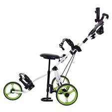 Foldable Golf Club Cart Trolley Swivel 3 Wheel Push Pull w/Seat Scoreboard Bag