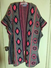 Grey & Neon Pink Tribal Long Poncho Jumper Soft Feel One Size New