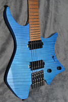NK Headless guitar Fanned Frets 5-ply Roasted Maple Neck Flamed maple blue color