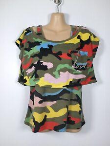 EMMA & ASHLEY khaki/bright camouflage layered tank vest & crop t-shirt, M/10-12