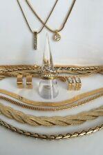 Lot Vintage M&S Gold Tone Diamanté Jewellery Necklaces Earrings Rings Pendants