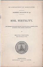 U.S. Department Of Agriculture Farmers' Bulletin No. 257 Soil Fertility 1909