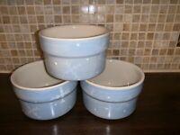 3 Hartstone Pottery Crate & Barrel Ramekin Blue Snowflake Heart Mini Baking Dish