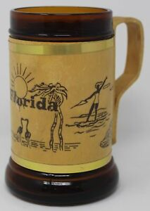 Vintage Florida Beer Mug Tankard Stein Wood Handle Brown Amber Glass EC Gators