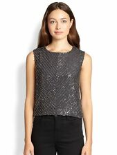 $301 Karina Grimaldi Miriam Gunmetal Silk Beaded Top Blouse NWT! S Small