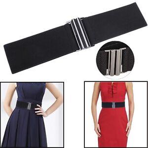 Fashion Women Black Elastic Waist Belt with Gunmetal Buckle Fastening Slim Thick