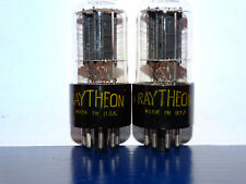 2 x 6sn7gt Raytheon Tubes*Black Plates*1953*Tall Boy*Support Rods*Strong Pair*