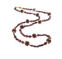 """Vintage Garnet Cluster Necklace Strand 10mm 25"""""""