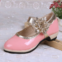 CHILDREN GIRLS FLOWER NEW KIDS MID LOW HIGH HEEL PARTY SHOES BRIDAL SANDALS SIZE