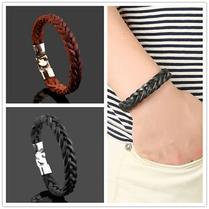 Men's Stainless Steel Braided Genuine Leather Bracelet Fashion Clasp Bangle Cuff