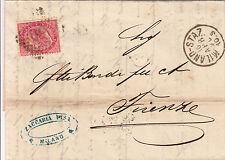"""TORINO-Lettera 40 c(T20) Milano stazione""""181""""->Firenze 16.4.1870"""