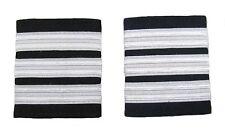 Pilot Captain, Silver Strips Epaulettes, Airline, First Officer 3 Bars R1737-03