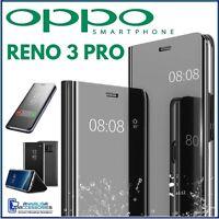 COVER FLIP PER OPPO RENO 3 PRO CUSTODIA LIBRO NERA A SPECCHIO CLEAR VIEW 360°