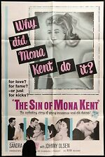 THE SIN OF MONA KENT Johnny Olsen ORIGINAL1962 1 SHEET Movie Theater Poster