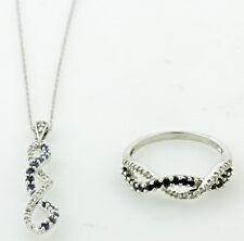BLUE SAPPHIRE & DIAMOND MATCHING PENDANT & RING SET 19K WHITE GOLD