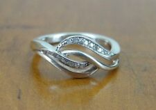 Cubic Zirconia Twist open design Sterling Silver 925 Band Ring Size 7