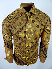 Mens Toku Premier Shirt Brown Black Floral Paisley Stripe Slim Fit Button Up