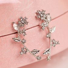 Charm Ear Climber Earrings Crystal Flower Branch Ear Cuffs Vine Wrap Sweep Stud