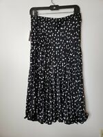 New with Tags Time and Tru Women's Crinkle Skirt XL 16 18 Black White Polka Dots