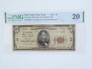 National Currency 1929 5 Dollar Bill PMG New York Paper Money Note United States