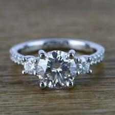3.50CT 3 Stone Moissanite Women's Wedding & Anniversary Ring 925 Silver