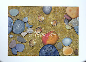 Original Yorkshire Whitby beach sea shells sand stones pebbles gouache Painting