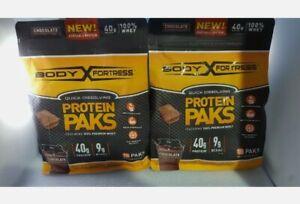 2 Body Fortress 100% Premium Whey Protein Powder Sample Packs 18 Grams Exp 4/21