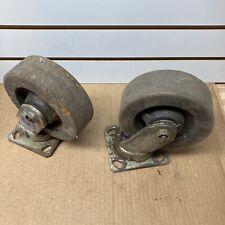 New Listinglot Of 2 Vintage 6 Swivel Wheel Casters Heavy Duty
