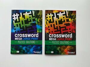 2 x Modern Crossword A4 Mega Large Print Books Brain Puzzle + Solutions